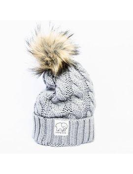 grey-faux-fur-pom-pom-hat by ivory-ella