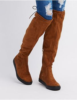 qupid-tie-back-over-the-knee-flat-boots by charlotte-russe