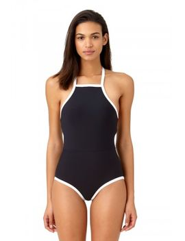 Studio Anne Cole Women's Beach Bound Solid High Neck One Piece Swimsuit by Swimsuits