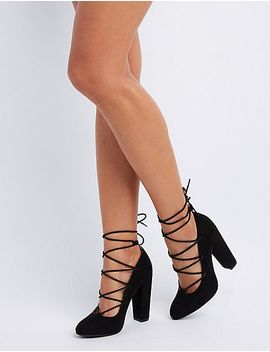 lace-up-block-heel-pumps by charlotte-russe