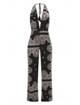 black-paisley-halterneck-jumpsuit- by prettylittlething