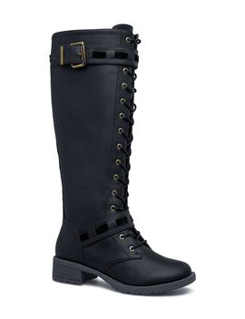 christine-flat-combat-boot by shoedazzle