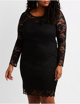 plus-size-scalloped-lace-bodycon-dress by charlotte-russe