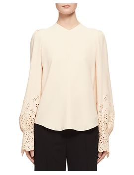 long-sleeve-eyelet-cady-blouse,-light-beige by chloe