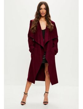 burgundy-oversized-waterfall-duster-jacket by missguided