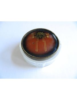 art-deco-lidded-glass-face-powder-jar---vintage by etsy