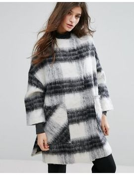 native-youth-oversized-cape-style-check-coat by native-youth