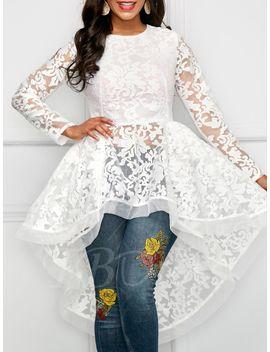 mesh-hollow-patchwork-floral-zipper-womens-blouse by --tbdress