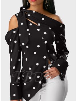 oblique-collar-lace-up-polka-dots-sexy-womens-blouse by oblique-collar-lace-up-polka-dots-sexy-womens-blouse