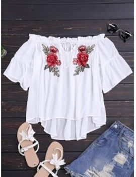 floral-embroidered-off-shoulder-top---white-m by zaful