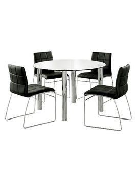 5pc-aneston-glass-top-chrome-leg-round-dining-table-setchrome_black---iohomes by iohomes