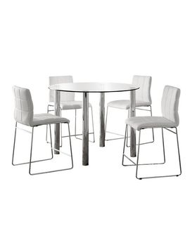 iohomes-5pc-glass-top-chrome-leg-round-counter-dining-table-set-metal_white by shop-collections