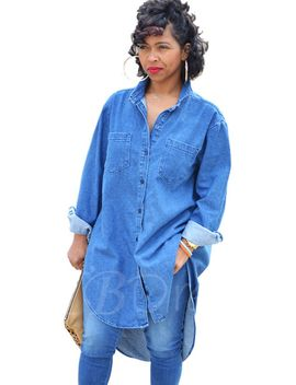 long-denim-single-breasted-womens-shirt by long-denim-single-breasted-womens-shirt