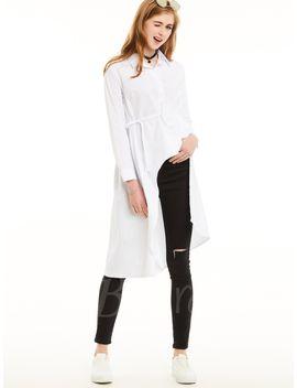 long-one-size-plain-lapel-belted-waist-womens-shirt by long-one-size-plain-lapel-belted-waist-womens-shirt