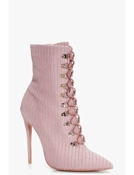 phoebe-lace-up-pointed-toe-sock-boots by boohoo