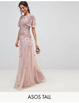 asos-design-tall-bridesmaid-iridescent-delicate-beaded-flutter-sleeve-maxi-dress by asos-tall