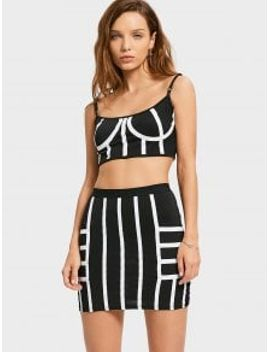 cropped-striped-top-and-bodycon-mini-skirt---white-and-black-l by zaful