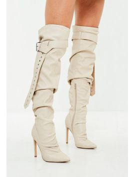 beige-belt-buckle-thigh-high-boots by missguided