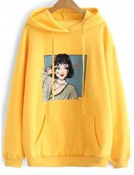 oversized-drawstring-character-hoodie---yellow by zaful
