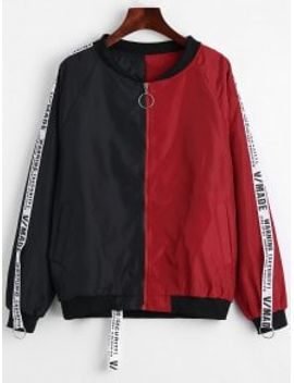 applique-contrast-bomber-jacket---red-with-black-l by zaful