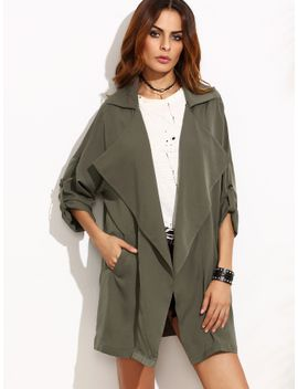 olive-green-oversized-collar-roll-tab-sleeve-duster-coat by sheinside