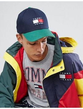 tommy-jeans-90s-capsule-colourblock-baseball-cap-in-navy_green by tommy-jeans
