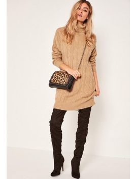 robe-pull-camel-col-roulé-mailles-torsadées by missguided