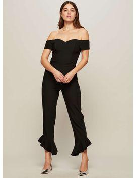 frill-hem-bardot-jumpsuit by miss-selfridge