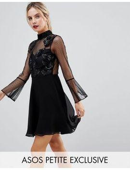 asos-petite-fluted-sleeve-embellished-dobby-skater-dress by asos-petite