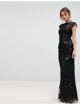 chi-chi-london-high-neck-sequin-lace-maxi-with-cap-sleeve by chi-chi-london