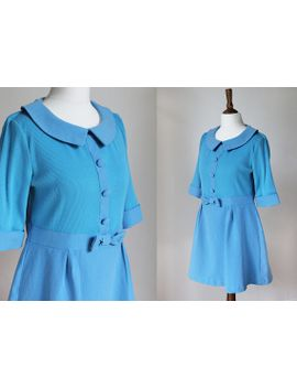 vintage-90s-blue-dolly-60s-style-peter-pan-collar-bow-alice-babydoll-lolita-skater-mini-dress-top-uk-12 by etsy