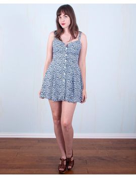 90s-floral-dress-mini-babydoll-blue-white-skater-grunge-hipster-small-the-limited by etsy