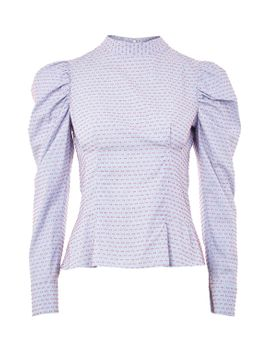 embroidered-puff-sleeve-top by topshop