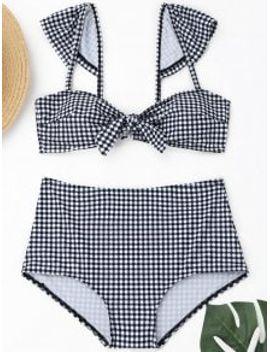 plaid-front-tied-high-waisted-bikini---plaid-s by zaful