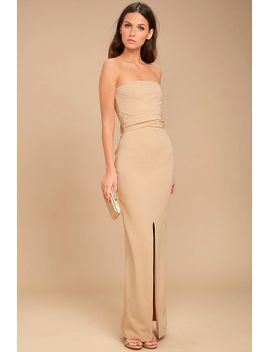 own-the-night-beige-strapless-maxi-dress by lulus
