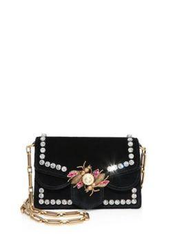 broadway-embellished-velvet-chain-shoulder-bag by gucci