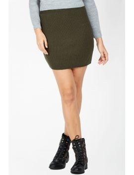 khaki-knitted-mini-skirt by select