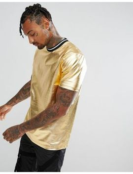 asos-t-shirt-in-metallic-gold-with-tipping by asos