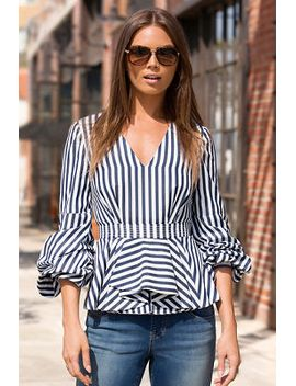 striped-ruched-sleeve-blouse by boston-proper