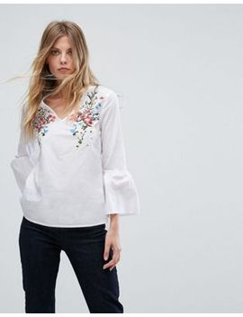 warehouse-embroidered-front-v-neck-blouse by warehouse