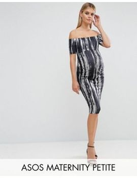 asos-maternity-petite-off-shoulder-bardot-dress-in-painted-stripe by asos-maternity