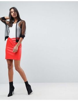 asos-design-textured-leather-look-mini-skirt by asos-collection