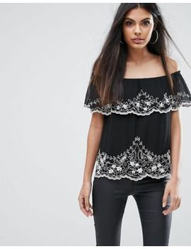 lipsy-off-shoulder-top-with-beading by asos