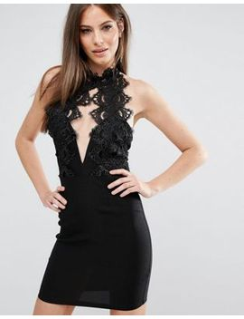 rare-london-high-neck-plunge-lace-mini-dress by rare