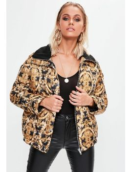 black-printed-puffer-jacket by missguided