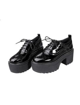 british-womens-flat-lace-up-brogue-wing-tip-oxfords-cosplay-carved-shoes-block by ebay-seller