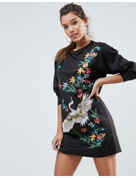 asos-premium-stork-embroidered-scuba-mini-sweat-dress by asos-collection