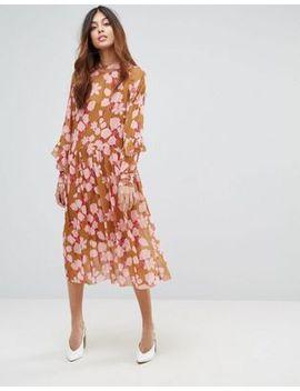 yas---robe-mi-longue-à-fleurs-et-volants by yas