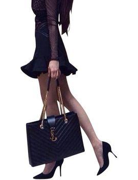 monogram-grained-shopper-black-leather-shoulder-bag by saint-laurent