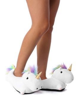 final-sale-white-unicorn-fleece-rainbow-slippers by windsor